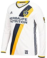 2016-2017 Adidas LA Galaxy Authentic Home Long Sleeve Jersey (White)