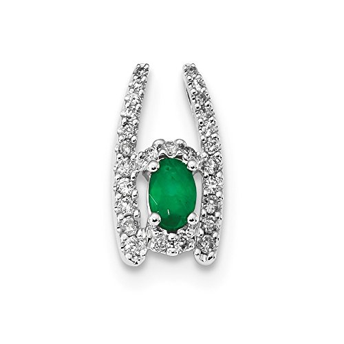 - 14k White Gold Diamond And Emerald Polished Chain Slide Pendant from Roy Rose Jewelry