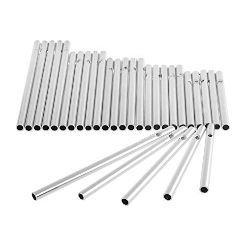 COSMOS Pack of 30 Wind Chime Tubes for Home Garden Outdoor Hanging Decorations, 5 Different Length, Silver Tone Color Empty Tubes -