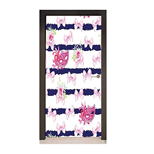 (Homesonne Masquerade Decorative Door Sticker Venetian Style Carnival Masks on Stripes with Satin Bows Roses Flowers for Office Decoration Pink White Blue,W17.1xH78.7)