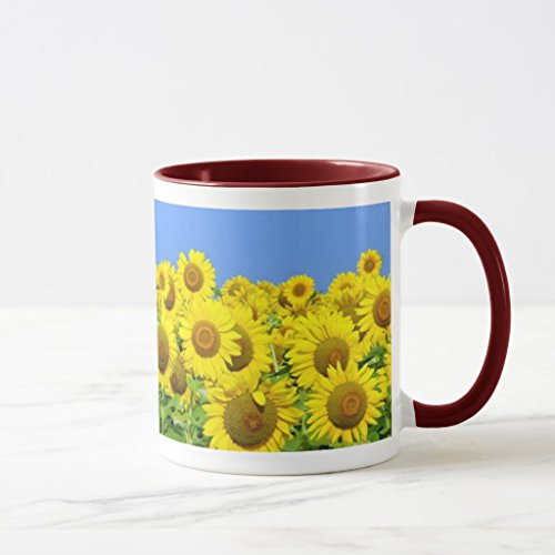 Zazzle Sunflower Fields Two-tone Coffee Mug, Maroon Combo Mug 11 oz