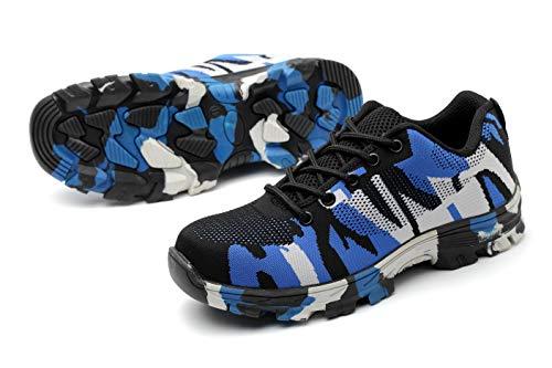 Axcer S3 Scarpe da Lavoro per Uomo e Donna Comodissime Traspiranti Scarpe Antinfortunistiche con Punta in Acciaio Calzature da Cantiere Stivali da Escursionismo Scarpe Sneaker Sportive di Sicurezza Camuffare Blu