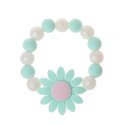 Simdoc Baby Nursing Bracelets Sunflower Teether Bracelets Silicone Chew Beads Teething Rattles Bracelet Toys: Clothing