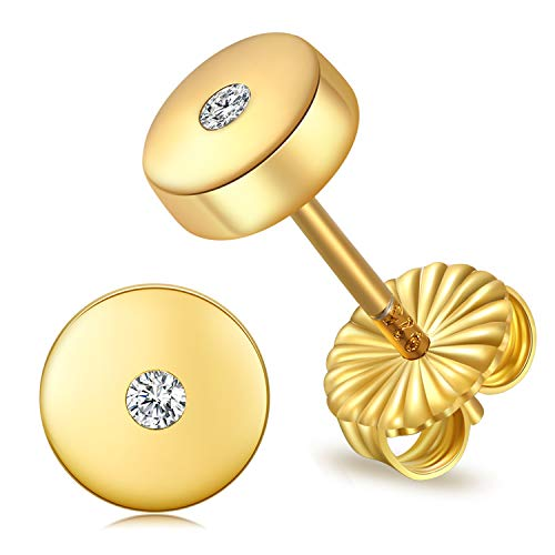 JORA Disc Stud Earrings Minimalism 18K Yellow Gold Plated 8mm Round Circle Disk Earrings ()