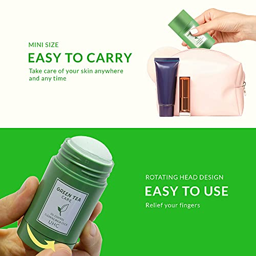2PCS Green Tea Stick Mask, Purifying Clay Face Moisturizer, Oil Control, Deep Cleaning for All Skin Types for Men and Women