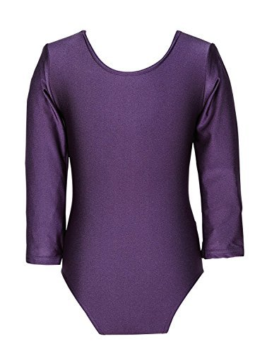 Child Girls Leotard Sleeved Stretchy Dance Gymnastics Ballet Sports Uniform Top (Purple, 30 ( 9 - 10 Years)) by REAL LIFE FASHION LTD by REAL LIFE FASHION LTD