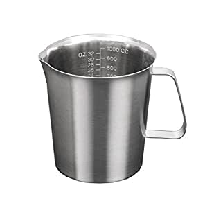 Stainless Steel Milk Pitcher Jug Coffee Foam Container Measuring Cup Kitchen Tool 1000ML