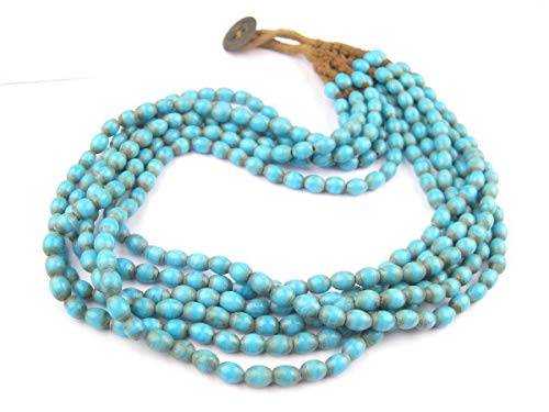Naga Glass Beaded Necklace - Authentic Vintage Beads - Handmade Ethnic Multi-Strand Jewelry (Blue Turquoise)