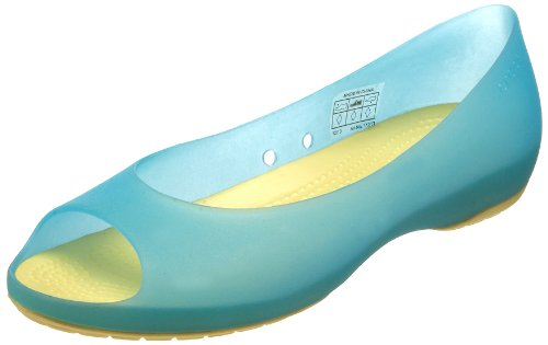 (Crocs Women's Carlie Open-Toe Flat,Aqua/Buttercup,11 M US)
