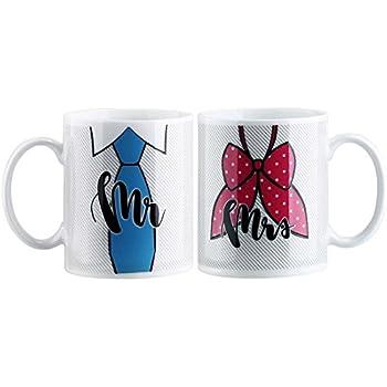 Avery Barn Mr & Mrs Color-Changing Heat-Sensitive Wedding Anniversary Mug Set