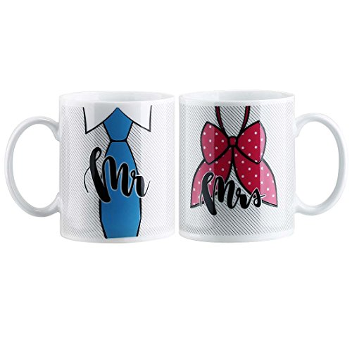 Avery Barn Mr & Mrs Color-Changing Heat-Sensitive Wedding Anniversary Mug Set ()