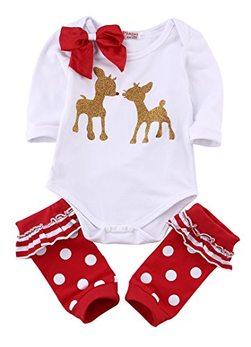 Baby Girls Christmas Outfit Long Sleeve Bowknot Deer Bodysuit Red Leg Warmer 2pcs Clothes Set (70(6-12M), (Christmas Clothing For Girls)