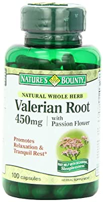 Nature's Bounty Natural Whole Herb Valerian Root, 450mg, 100 Capsules (Pack of 6)