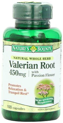 Bounty naturel plante entière racine de valériane, 450mg de la nature, 100 Capsules (pack de 6)