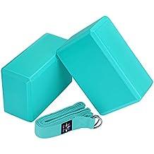 "Veda Yoga Foam Blocks (Set of 2) plus strap with Metal D-Ring - Standard Studio Size 9"" x 6"" x 4"""