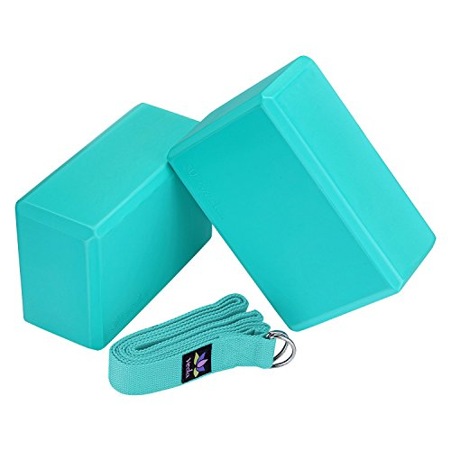 "Veda Yoga Foam Blocks (Set of 2) plus strap with Metal D-Ring - Standard Studio Size 9"" x 6"" x 4"" (Aqua)"