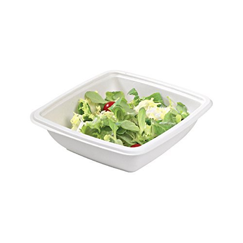 - Sugarcane Square Salad Bowl (Case of 30), PacknWood - Compostable and Biodegradable Soup Bowls (7.7