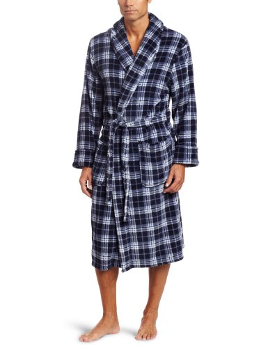 Joseph Abboud Men's Printed Corel Fleece Robe, Navy, One Size