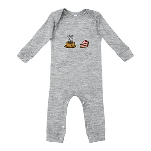 Cute Rascals Cup Coffee Slice Strawberry Short Cake Cotton Long Sleeve Envelope Neck Unisex Baby Legged Long Rib Coverall Bodysuit - Oxford Gray, 12 (Strawberry Shortcake Baby Items)
