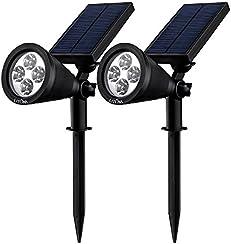 Litom Super brillante Lampara de solar bajo consumo de energia impermeable sin bateria perfecto para la seguridad del patio, Jardin, Césped etc