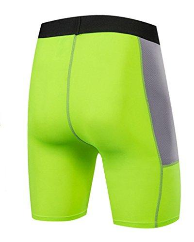 Verde Termico Fitness Compressione Corto Sportivi Dianshao Pantaloni Base Pantaloncini Strato Leggings Fluorescente Uomo A qWFOxWHwpS