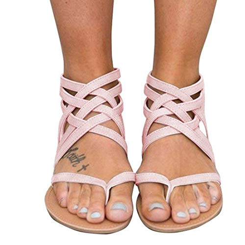 Xiakolaka Womens Strappy Sandals Flat Gladiator Cross Strap Thong Toe Shoes Pink 39