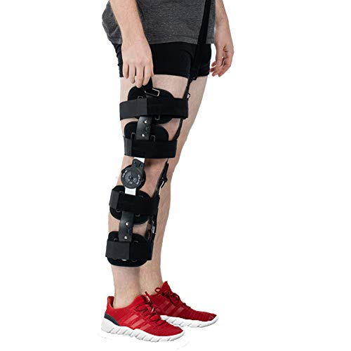 Hinged ROM Knee Brace with Strap,Post OP Patella Injury Immobilizer Support Medical Orthopedic Guard Protector - Adjustable Full Leg Stabilizer for ACL, Ligament, Sports Injuries ()