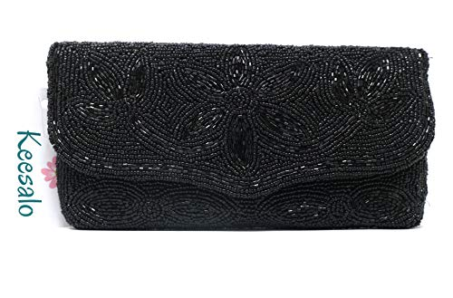 Clutch Purse For Women-Handmade With Black Beads-Fashion Evening Bag For Party With Long Attached Beads Chain-Glitter Wedding Wallet Zipper Pouch Inside (Black)
