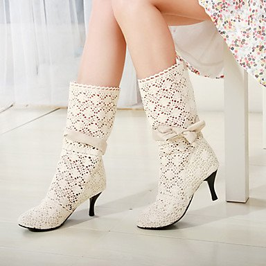 Novelty 5 Party Mid Boots 5 Heel Stiletto Comfort Office Calf Boots Shoes RTRY Boots US7 UK5 Spring EU38 Career Toe Summer Pointed Fashion amp; Tulle For CN38 Women's Y6F1qF
