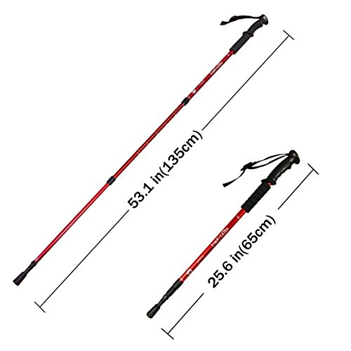 TheFitLife Nordic Walking mountaineering Anti Shock Hiking Trekking Walking Trail Poles, 2-pack, Folding Collapsible Alpenstocks, ultralight for travel mountaineering (Red)