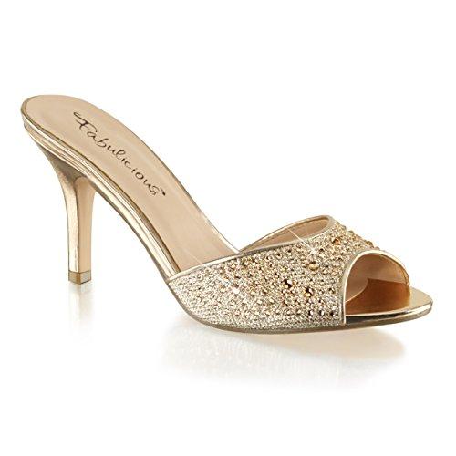 Fabulous Lucy-01 Dames Pump Schoenen Goud Glitter Mesh Stof