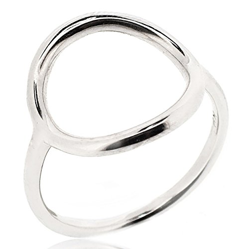 SOVATS Open Circle Ring For Women 925 Sterling Silver Rhodium Plated - Simple, Stylish &Trendy Nickel Free Ring, Size 10 ()