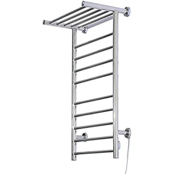 towel warmer rack. HomCom 9-Bar Stainless Steel Wall Mounted Heated Towel Warmer Rack W/ Shelf P