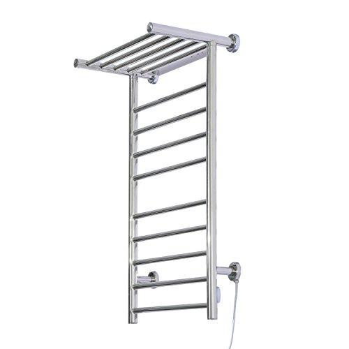 HomCom 9-Bar Stainless Steel Wall Mounted Heated Towel Warmer Rack w/ Shelf