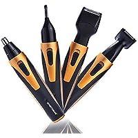 Tondeuse professionnelle du nez/oreilles électrique,rasoir corps/visage ,pour homme/femme,nose/ear trimmer,rasoir ,4 en 1:sourcil,nez,oreille,barbe,4têtes,ensemble d'outils(Golden)