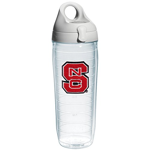 Tervis North Carolina State University Emblem Individual Water Bottle with Gray Lid, 24 oz, Clear