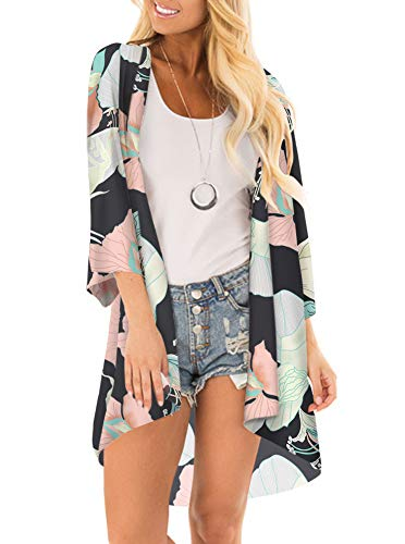 (Women Floral Print Kimono Cover Up Sheer Chiffon Blouse Loose Long Cardigan Black Multi Small)