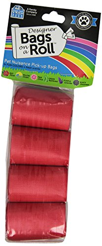 (Doggie Walk Bags Designer Refill Bags, Red/Floral, 4 Rolls)