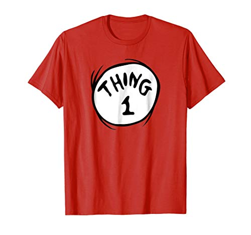1 Two Pack - Dr. Seuss Thing 1 Emblem RED T-shirt