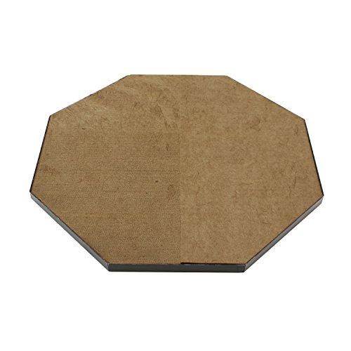 Octagonal Wood Base - Infinite Heat Solutions DeckProtect 30-Inch Octagon Outdoor Fire Pit Pad with Black Rack