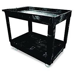 Rubbermaid Commercial Utility Cart, Lipped Shelves, Medium, Black, 4 Non-marking Swivel Casters, 300 Lb Capacity (Fg9t6700bla)