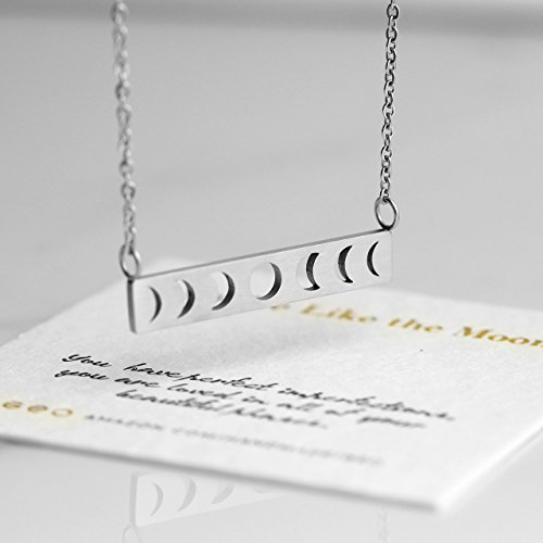 Silver Moon Phase Necklace Moon Necklace Bar Necklaces For Women Moon Pendant Necklace Moon Jewelry Valentines Day Gifts