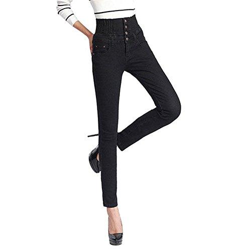 wlgreatsp Taille Haute Slim Stretch Crayon Pantalon Jeans Black