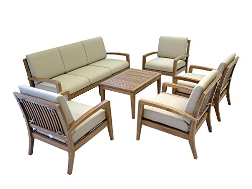 (Ohana Teak Patio Furniture 7-Seater Conversation Set with Beige Cushions (7-Seater))