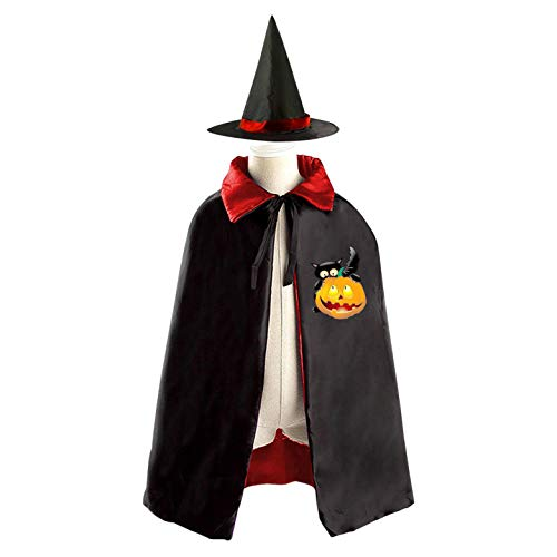 69PF-1 Halloween Cape Matching Witch Hat Black Cat Pumpkin Wizard Cloak Masquerade Cosplay Custume Robe Kids/Boy/Girl Gift Red