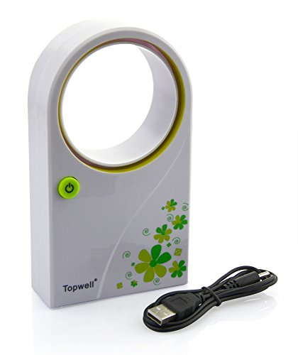 Topwell® Mini USB 2.0 Handheld Air Condition Bladeless Portable Refrigeration Fans Desktop Cooler Mini USB/ AA Battery Powered No Leaf Air Conditioner (Green)