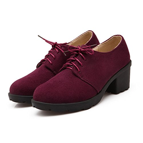 Balamasa Femmes Lacets Talons Chunky Bout Rond Chaussures En Daim Oxfords-chaussures Rouge