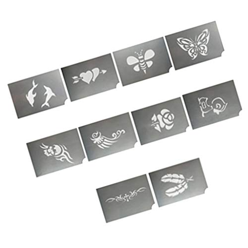 Prettyia 10pcs Animal Flower Design Reusable Face Paint Stencil Body Painting Template, Makeup Tattoo Tools for Halloween Christmas Party