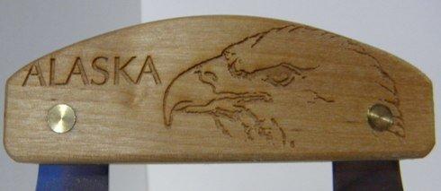 Alaskan Inupiat Style Ulu with Eagle Etched Birchwood Handle, 6.25'' Blade