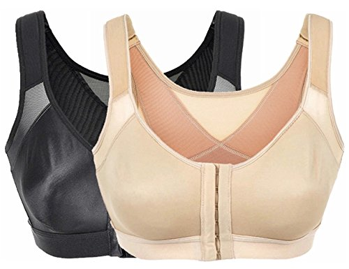 Women's Non-Padded Sports Bra Front Closure Workout Yoga Bras 3 Step Adjustable M Black/Nude (Sports Bra Extra Padding compare prices)